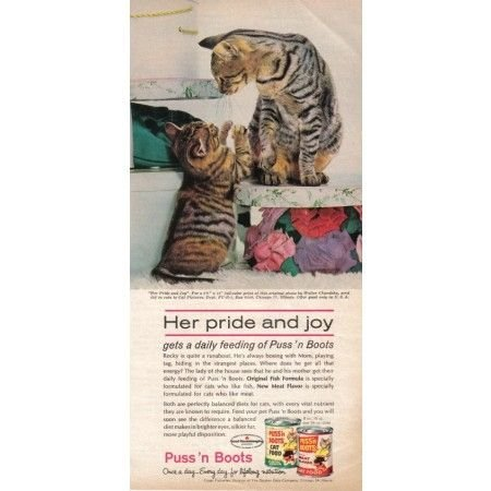 1962 Puss 'N Boots Cat Food Vintage Color Print Ad - Pride And Joy