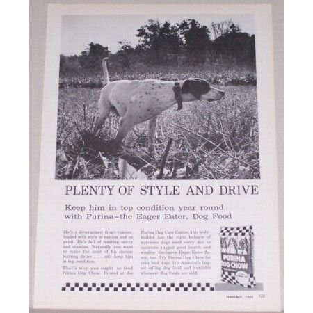 1962 Purina Dog Chow Vintage Print Ad - Eager Eater