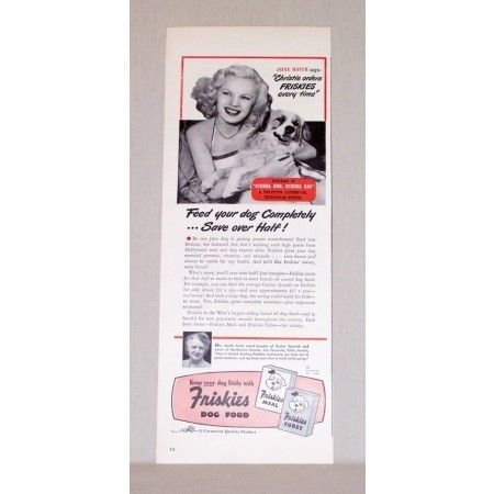 1948 Friskies Dog Food Vintage Print Ad Celebrity June Haver