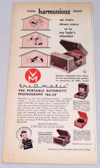 1953 Triomatic 986 Portable Automatic Phonograph Vintage Color Print Ad