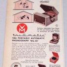 1953 Triomatic 986 Portable Automatic Phonograph Vintage Color Print Ad
