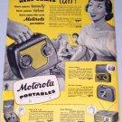 1949 Motorola Portables Model 59L12 Radio Electronic Vintage Print Ad