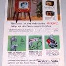 1954 Western Auto Stores Truetone TV Television Radios Color Print Ad