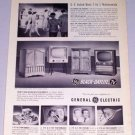 1954 General Electric GE Black Daylite TV Television Vintage Print Ad