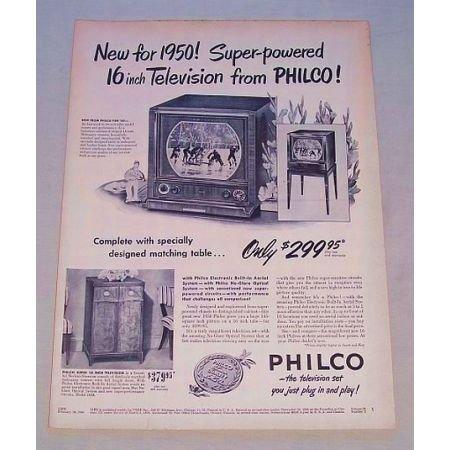 1950 Philco Super-Powered 16 Tabletop Television Vintage Print Ad
