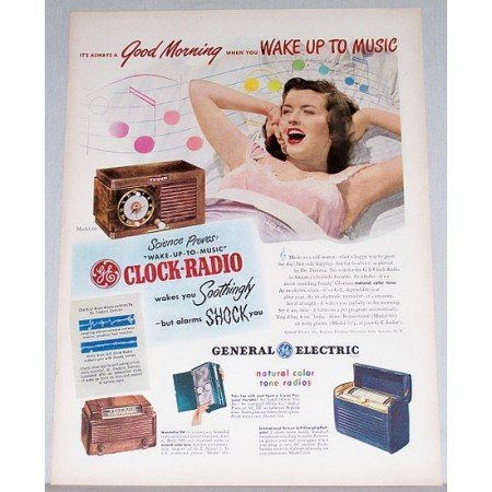 1948 General Electric Model 60 Clock Radio Color Print Ad