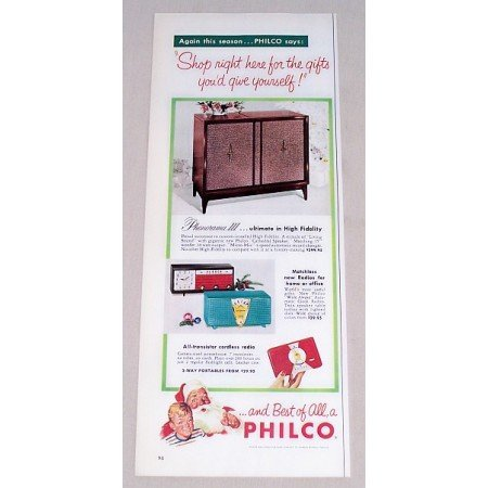 1956 Philco Phonorama III Cabinet Radio + Others Color Print Ad