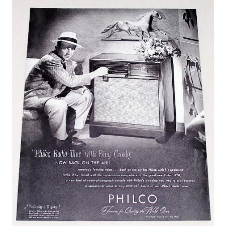 1947 Philco 1260 Radio Phonograph Vintage Print Ad Celebrity Bing Crosby