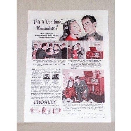 1945 Crosley Floating Jewel Radio Phonograph Color Print Ad