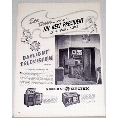 1948 GE Model 802D TV Radio Phonograph Vintage Print Ad