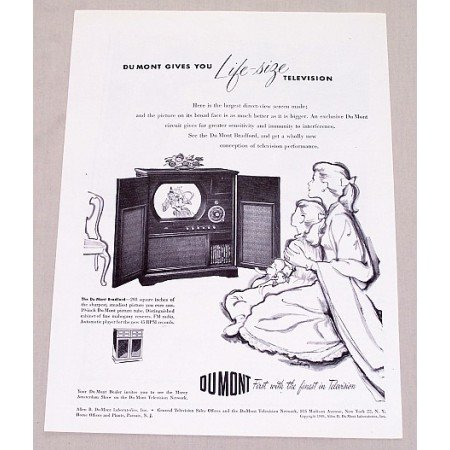 1949 Du Mont Bradford TV Radio Phonograph Vintage Print Ad