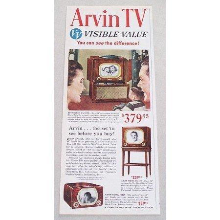 1950 Arvin 16 Black Tube Model 2162CCM Television Color Print Ad