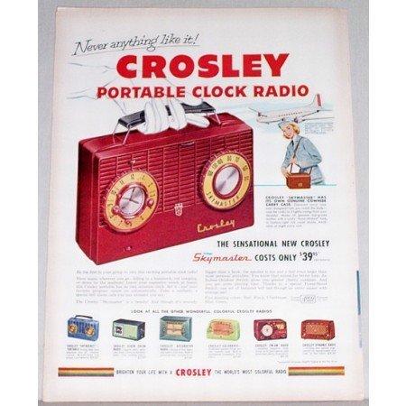 1951 Crosley Skymaster Portable Clock Radio Color Print Ad