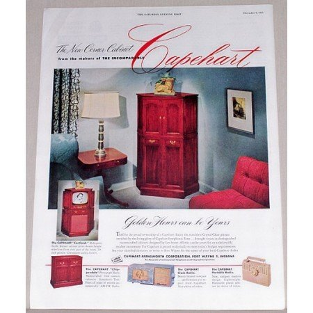1951 Capehart Cortland Corner Cabinet 20 Television Color Print Ad