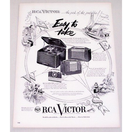 1950 RCA Victor Portable 45 Phonograph Vintage Print Ad