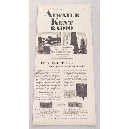 1929 Aywater Kent Model 40 56 Radio Vintage Print Ad
