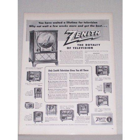 1950 Zenith Lexington Console Television Vintage Print Ad