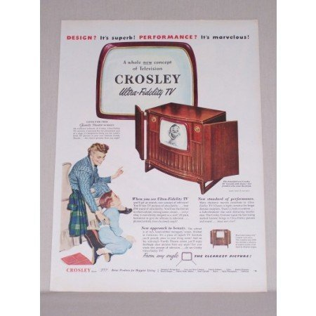 1950 Crosley Ultra Fidelity 16 Console TV Color Print Ad