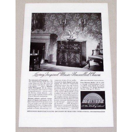 1946 Meissner Chippendale Radio Phonograph Vintage Print Ad