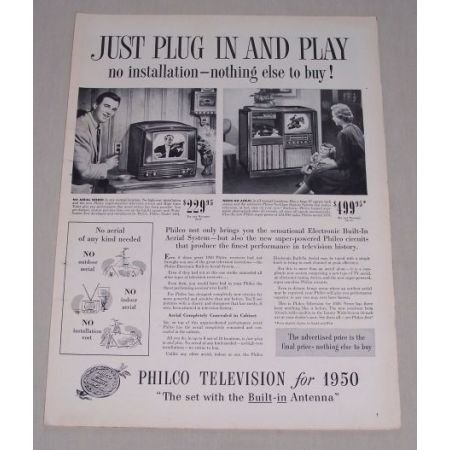 1949 Vintage Print Ad for 1950 Philco Televisions Model 1104 1479 Ad