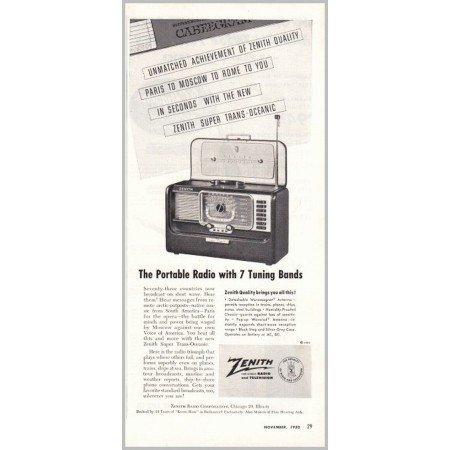 1952 Zenith Super Trans-Oceanic Short Wave Radio Vintage Print Ad