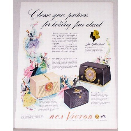 1948 RCA Victor Radios Color Print Ad - The Golden Throat