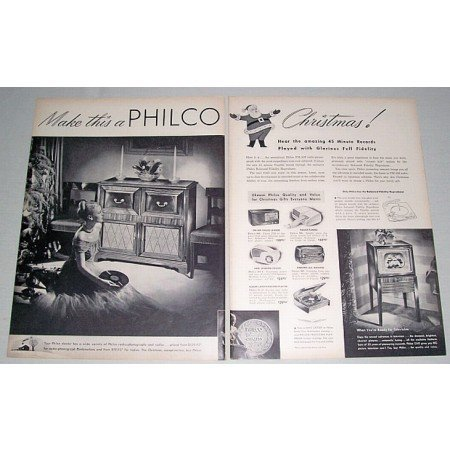 1948 Philco Radio Phonograph Television 2 Page Vintage Print Ad