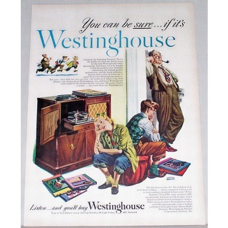 1948 Westinghouse 191 Radio Phonograph Color Print Art Ad