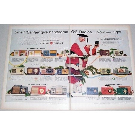 1955 General Electric Radios Color 2 Page Christmas Print Ad