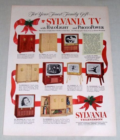 1953 Sylvania Television Halolight Photopower Color Print Ad