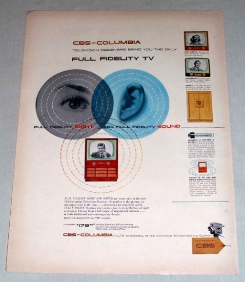 1953 CBS-Columbia Full Fidelity TV Receiver Color Print Ad