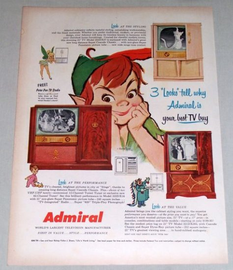 1953 Admiral Televisions Disney Peter Pan Tinkerbell Color Print Art Ad