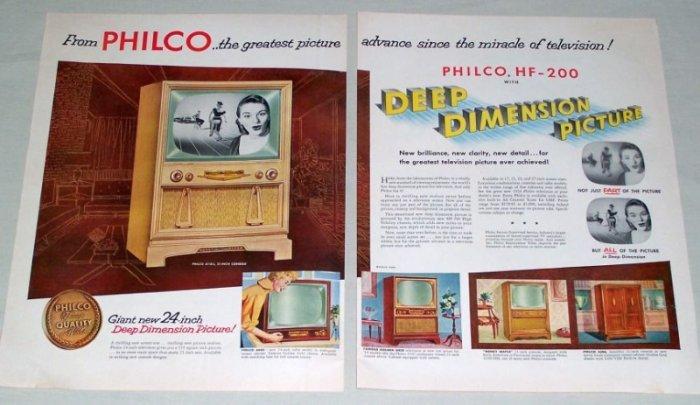 """1953 Philco 4110-L 21"""" Console Television 2 Page Color Print Ad"""