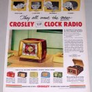 1953 Crosley VIP Clock Radio Color Print Ad