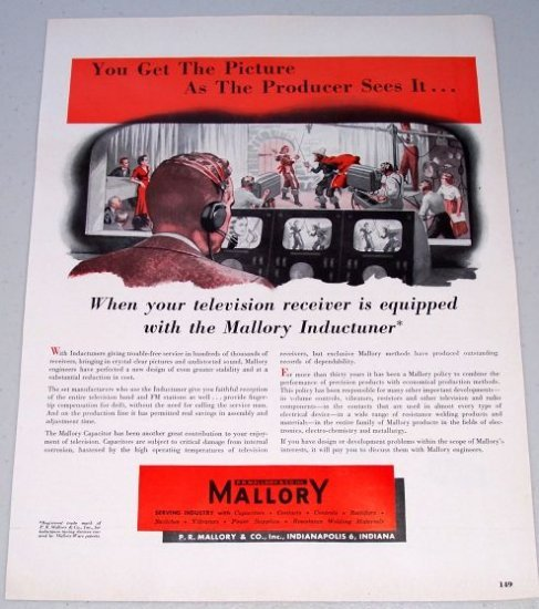 1949 P.R. Mallory Inductuner Color Print Ad