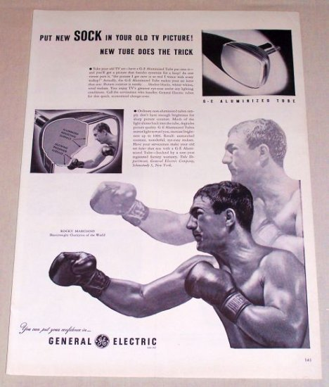 1953 General Electric TV Tube Celebrity Boxer Rocky Marciano Vintage Print Ad