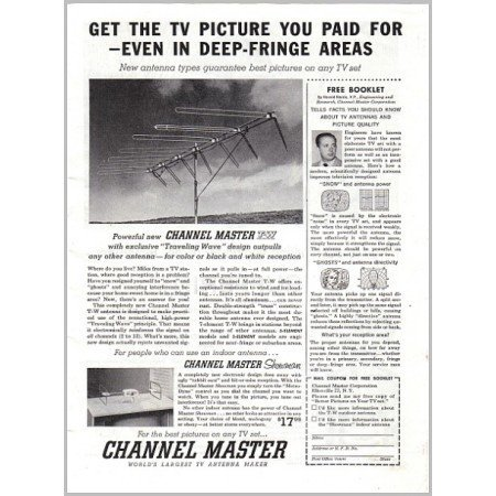 1957 Channel Master T-W Television Antenna Vintage Print Ad
