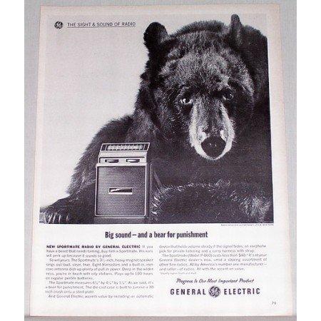 1962 General Electric Sportmate Speakers Black Bear Animal Vintage Print Ad