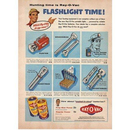 1955 Ray-O-Vac Batteries Color Print Ad - Flashlight Time
