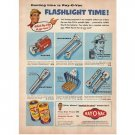 1955 Ray-O-Vac Batteries Color Print Ad - Flashlight Time