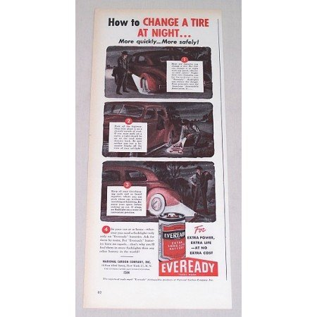 1946 Eveready Batteries Color Print Ad - How To Change A Tire