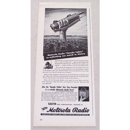 1944 Motorola Radio Handie Talkie Radio Wartime Vintage Print Ad