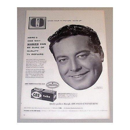1955 CBS Television Tubes Vintage Print Ad Celebrity Jackie Gleason
