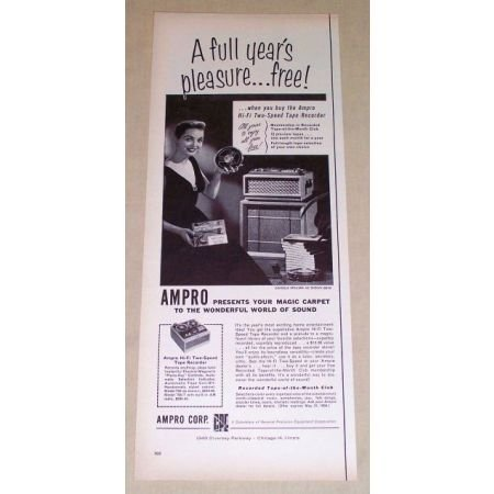 1956 AMPRO Hi-Fi Two Speed Tape Recorder Vintage Print Ad