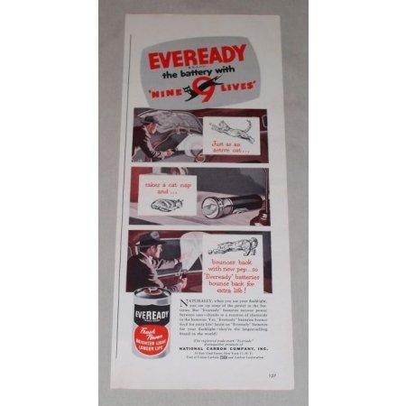 1949 Eveready Batteries Color Print Art Ad - Nine Lives