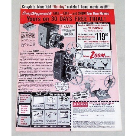 1961 Mansfield Holiday Camera Projector Splicer Vintage Print Ad