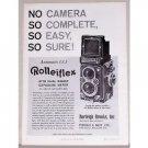 1957 Burlrigh Brooks Rolleiflex Automatic F:3.5 Camera Vintage Print Ad