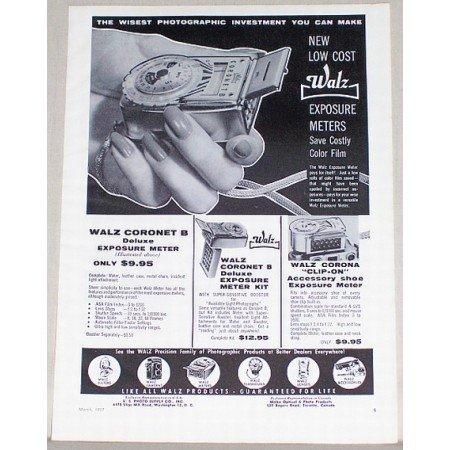 1957 Walz Coronet B Exposure Meters Vintage Print Ad - Save Color Film