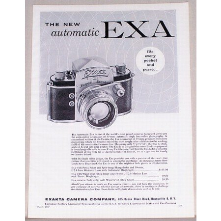 1957 Exa Automatic 35mm Camera Vintage Print Ad - Fits Every Pocket
