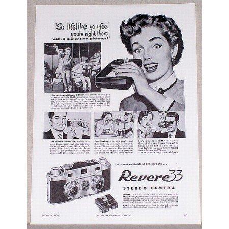 1953 Revere 33 Stereo Camera Vintage Print Ad - So Lifelike
